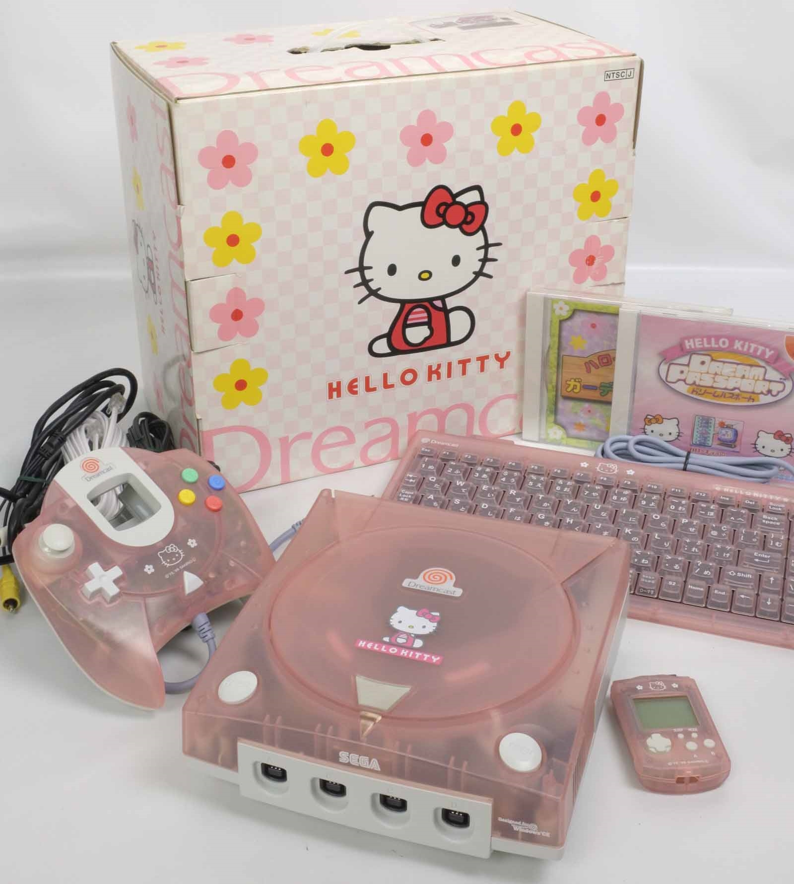 """Dreamcast DC HELLO KITTY PINK Console System Boxed Tested 019018033921 """"NTSC-J"""" 
